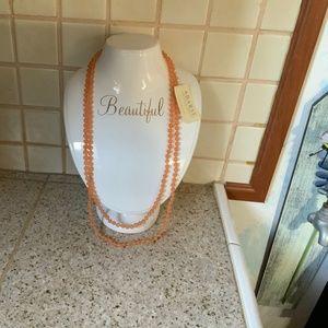 """NWT BARSE orange beaded 62"""" stranded necklace"""